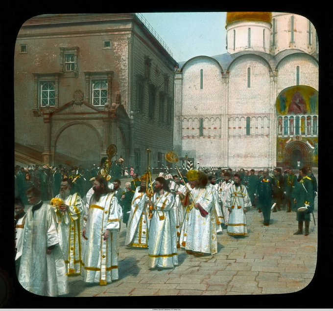 Moscow: Ceremony of Blessing the Apple, priests escorting the Metropolitan from the Cathedral of the Dormition