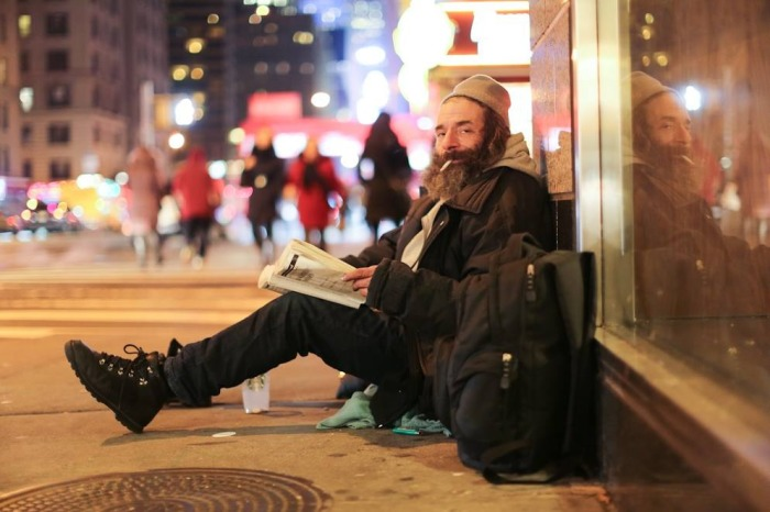 """""""I've got a whole stack of books in my cart. Most of them are advance copies. I know a place where they get thrown out."""" """"How many books have you read?"""" """"Thousands."""" """"So why are you homeless?"""" """"I've tried to work a job a bunch of times. But then I get sad, and then I get high, and things fall apart."""""""